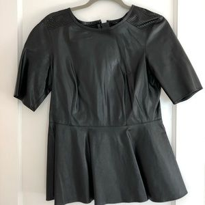 Pink Tartan Leather Peplum Top - black; size 6
